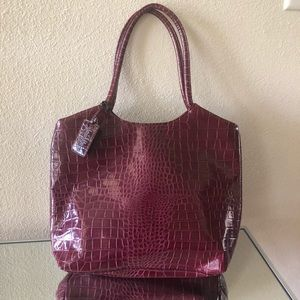 Neiman Marcus Crocodile Embossed Bordeaux Tote